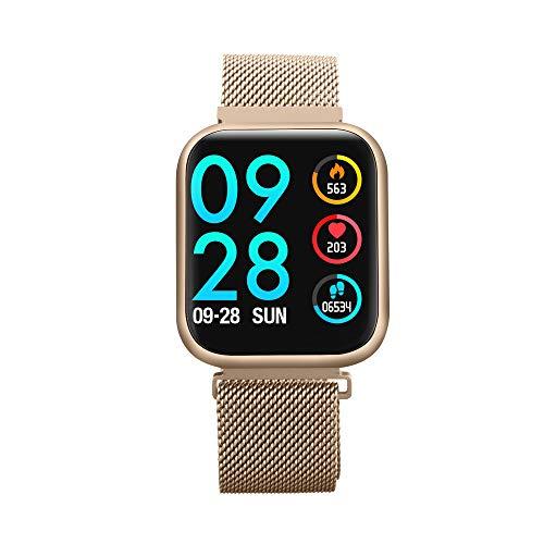 Accbooo Fitness-Tracker, Intelligente Uhr Mit Herzfrequenzmesser, Aktivität Tracker Pedometer Schlafmonitor, IP68 Wasserdichter Uhr, Für Kinder Geeignet Frauen,Gold