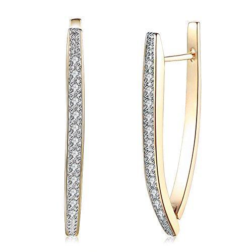AOAVOV 14K Pendientes plata anillo de circonio cúbico pendientes aro pendientes de moda para mujer es un regalo para madres, esposas y niñas. (oro)