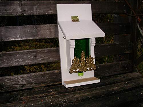 Vogelfutterspender aus Restholz mit Flasche zum aufhängen