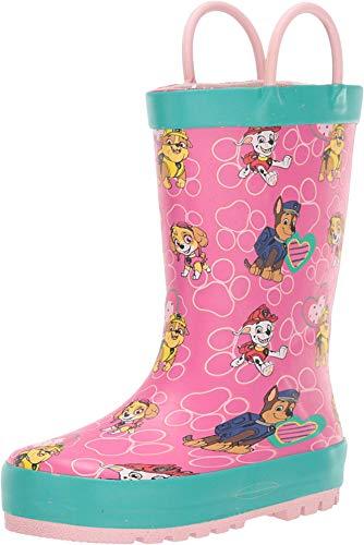 Western Chief Kids Girls Paw Patrol Waterproof Printed Rain Boot with Easy Pull on Handles, Pink, 13 Little Kid