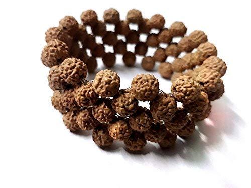 SataanReaper Presents Designer Brown Wooden Stretchable 5 Mukhi Rudraksha Beads Good Luck Bracelet for Men and Women #SR-2010