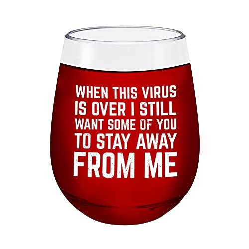 Funny Covid Gift Doctor Nurse Coworker Teacher - When This Virus is Over - Unbreakable Stemless Plastic Wine Glass - giftable wine glass with funny birthday gifts for women men