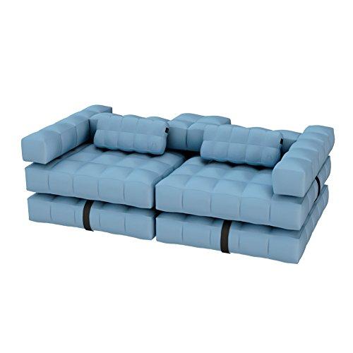 Pigro Felice Modul'Air Luxury Inflatable Sofa Set-Aqua Blue, PVC, Bleu Ciel, 234x117x72 cm
