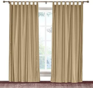 cololeaf Tab Top Faux Silk Curtains Drapery Panel For Traverse Rod Or Track, Living Room Bedroom Meetingroom Club Theater Patio Door, Taupe 52W x 84L Inch (1 panel)