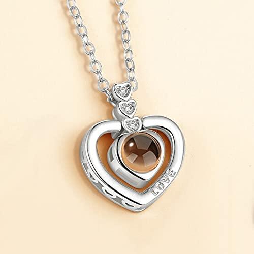 N/A Halskette Hundert Sprachen Ich Liebe Dich Halskette Liebesgedächtnis Herzform Projektion Anhänger Katze Schlüsselbein Kette Spot Muttertagsgeschenk