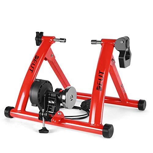 YourBooy Bicicleta Turbo Trainer Soporte De Ciclismo Magnético, Plataforma De Entrenamiento De Equitación, Bicicleta Trainer Ejercicio Fitness Marco Estacionario,Rojo