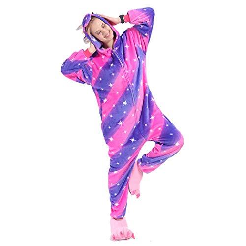 Adultos Disfraces Pijamas De Las Señoras Lindo Y Divertido Pijamas Púrpura Animales Casa Ropa Cálido Franela Casa Ropa Vestidos De Halloween (Color : Purple, Size : SG)
