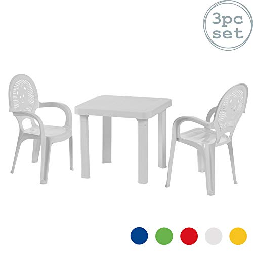 Resol Chaises table en plastique jardin/extérieur enfant - blanc - meuble enfant - lot de 2 chaises/1 table