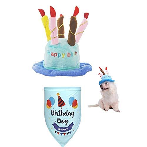 BEIAOSU sombrero de cumpleaños y bandana, sombrero de cachorro, bufanda de gatito, para disfraz de fiesta de mascotas