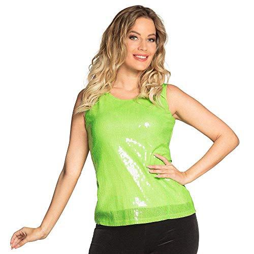 Boland 02050 – cekiny Top limonkowy zielony, jasnozielony, brokatowy top, dyskoteka Queen, impreza tematyczna, karnawał