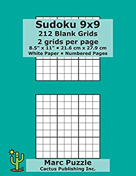 Sudoku 9x9 - 212 Blank Grids  2 grids per page  8.5  x 11   216 x 279 mm  White Paper  Page Numbers  Number Place  Su Doku  Nanpure  9 x 9 Puzzle Template Boards