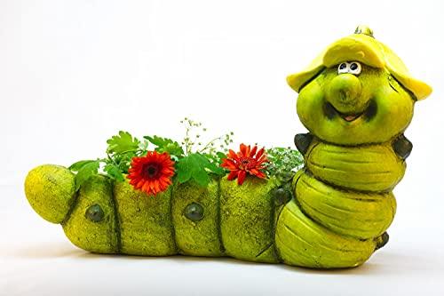 Große lustige Dekofigur Raupe Henry Garten Pflanztopf