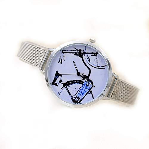 #N/V Reloj creativo de malla retro Gd100B de cuarzo con esfera redonda de lujo y precisión de cuarzo relojes de mano de obra exquisita, bicicleta, L: 23 cm