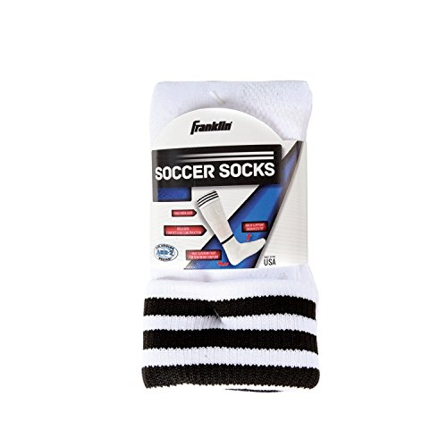 Franklin Sports Youth ACD Soccer Socks, White/Black, Medium