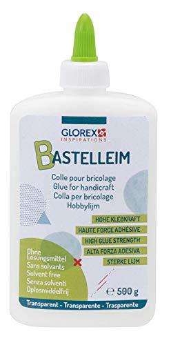 Glorex 6 8090 813 - Universal Bastelleim, Alleskleber, Flasche mit 500 g, ohne Lösungsmittel, auswaschbar, transparent trocknend, für alle gebräuchlichen Materialien