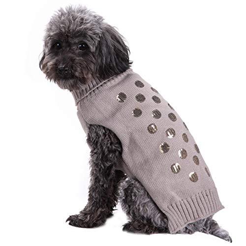Pailletten Huisdier Sweater Kat Hond Kleding Winter Warm Puppy Knitwear Truien Hond Kleding Gebreide Huisdier Jas voor Kleine Medium Grote Honden Gray M