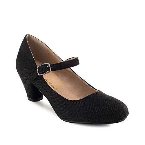 Andres Machado - Mary Jane Damenschuhe für Mädchen mit 5,0 cm Absatz – AM538 – Hohe Schuhe Damen/Pumps Blockabsatz – aus schwarzem Stoff - EU 33