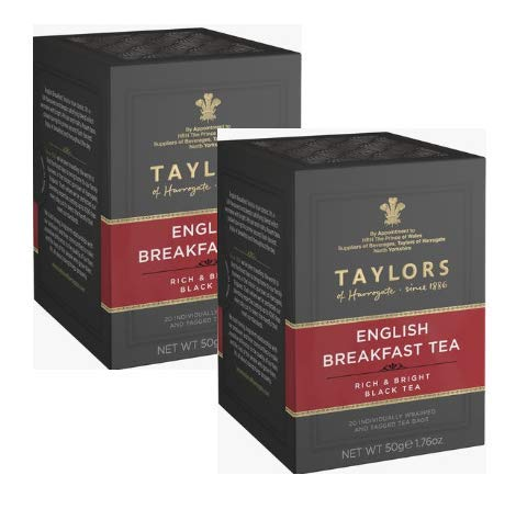 Taylors English Breakfast Tea Rich & Bright Black Tea/Té Nero - 2 x 20 Individually Wrapped and Tagged Tea Bags (100 Gram)