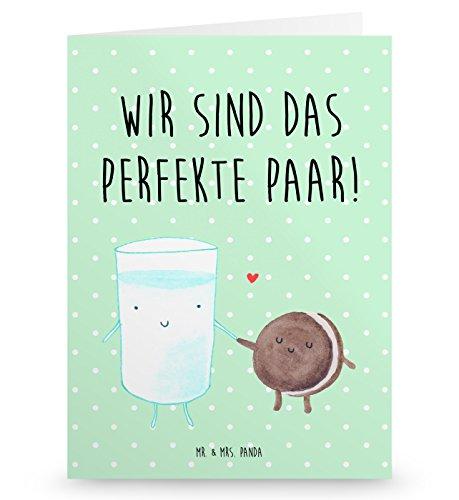 Mr. & Mrs. Panda Grußkarte Milch & Keks - 100% handmade in Norddeutschland - Pappe, romantisch, Papier, Einladungskarte, , Einladung Frühstück, Motiv süß, Keks, Einladung, Cookie, Gutscheinkarte, Kaffee