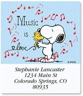 PEANUTS Snoopy Music Select Return Address Labels - Set of 144, Large Self-Adhesive, Flat-Sheet Labels