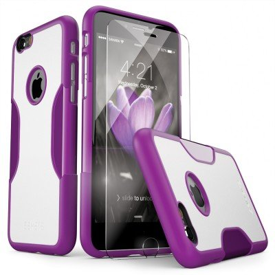 iPhone 6s Case, iPhone 6 Case (Purple) SaharaCase Protective Kit Bundle with [ZeroDamage Tempered Glass Screen Protector] Rugged Protection Anti-Slip Grip [Shockproof Bumper] Slim Fit - Purple White