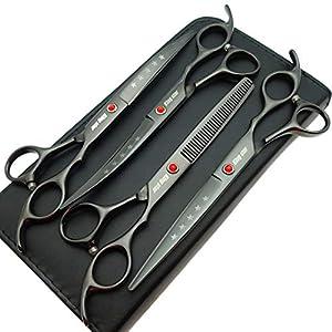 7.0in Titanium Black Professional Pet Grooming Scissors Set,Straight & Thinning & Curved Scissors 4pcs Set for Dog Grooming,(Black)