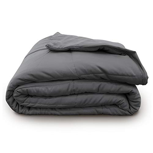 BROOKSTONE Innovations Cooling Weighted Blanket - Machine Washable Removeable Quilted Cooling Zip Off Cover - Measures 48 in. X 72 in. - 12 Pound Weight - Dark Grey