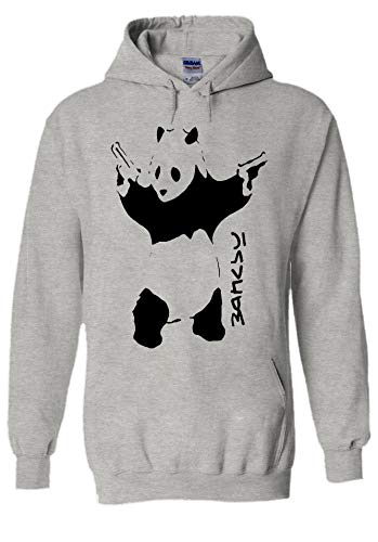 Panda Banksy Street Art Graffiti Funny Novelty Grey Men Women Unisex Hooded Sweatshirt Hoodie-XL
