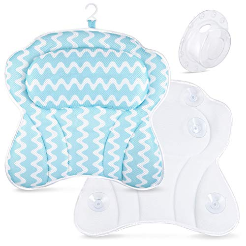 Bath Pillows for Tub or Spa. Ergonomic Pillow for Comfort and Support. Washable and Quick Drying. Holds Securely with Suction Caps. Bonus Bathtub Drain Overflow Cover. Fill Your Bath to the Brim.