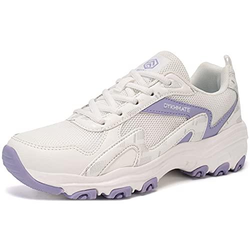 DYKHMATE Mujer Zapatillas de Deportivos Vintage Zapatos de Running para Gimnasia Ligero Sneakers Malla Transpirable con Cordones para Correr Fitness Atlético Caminar (Morado,40 EU)