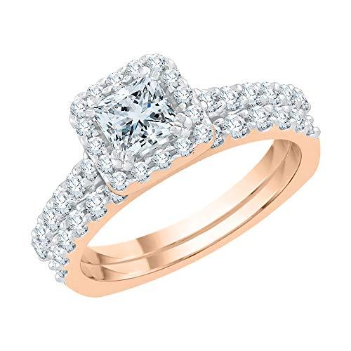 Katarina 14 quilates oro rosa round-shape princess-shape J-K Diamond