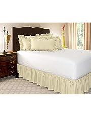 Pliegues de cama elásticos alrededor de la falda de la cama, volantes de polvo plisado Cubre Canapé Medidas canapé Faldón de volantes con banda Cubre unda de somier Colcha-Beige-COMPLETO:135*200Cm