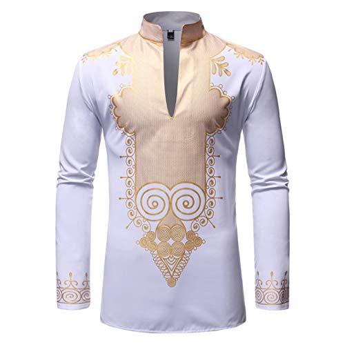 Ansemen Camisas Musulmanas para Hombre Camisa de Manga Larga con Estampado de Moda Dashiki Camisa de Oriente Medio Arabe Suelta Kaftan Kandoura