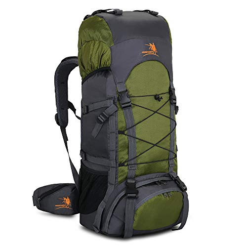 60L Internal Frame Hiking Backpack with Rain Cover,Outdoor Sport Travel Daypack for Climbing Camping Touring (Green)
