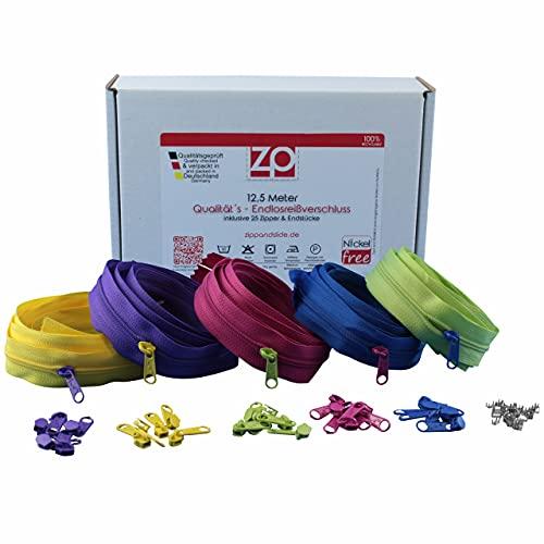 ZIPP AND SLIDE - Endlos Reißverschluss Set mit Zipper 3mm 12,5 Meter - nickelfrei - Farbsetnr. 3 Das Original