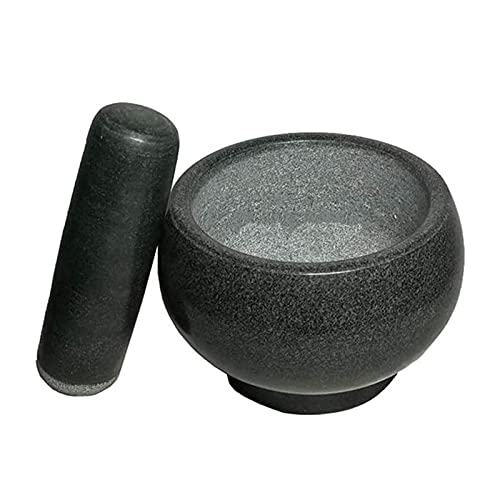 NCRD Large Black Granite Mortar & Pestle Natural Stone Grinder for Spices, Seasonings, Pastes, Pestos and Guacamole