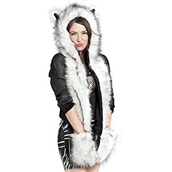 3 in 1 Cartoon Full Animal Faux Fur Hood Hoods with Ear Flaps Scarf Spirit Paws Mittens Gloves Set Cute Anime Furry Hoodie Hat with Pocket Gloves Earmuff Halloween Costume White