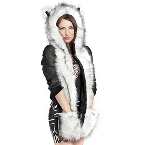 FakeFace 3 in 1 Unisex Men Women Girls Faux Rabbit Fur Cartoon Animal Fox Ears Hood Hoodie Earflap Hat Long Scarf Snood Wraps Winter Warm Mittens with Pocket Gloves White