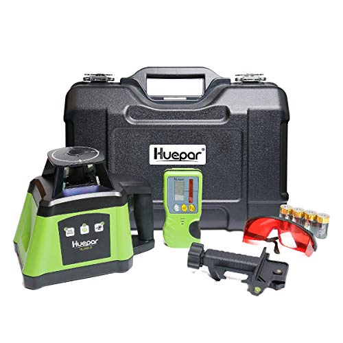 Huepar Electronic Self-Leveling Rotary Laser Level Kit -360 Horizontal Laser Beam Interior/Exterior Rotating Laser Level Tool, Receiver, Protective Glasses, Alkaline Battery, Hard Case Kit RL200HR