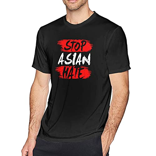 DJNGN Stop Asian Hate Hombres Camisetas de algodón de Manga Corta Camisetas Deportivas Ajustadas con Cuello Redondo