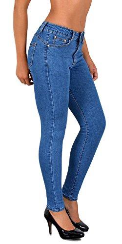 ESRA Damen Jeans Jeanshose Damen Skinny Jeanshosen Pushup bis Übergröße S900, J368, 36