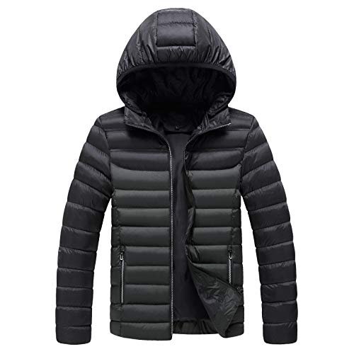 KaloryWee 2020 Herbst Winter Daunen Kapuzenjacke für Herren Winddicht Softshellmantel mit Kapuze Coat