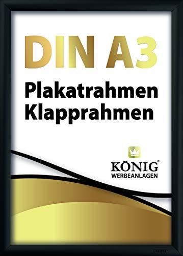 Plakatrahmen DIN A3 | 25mm Alu Profil, eckig | schwarz | inkl. entspiegelter Schutzscheibe und Befestigungsmaterial | Bilderrahmen Klapprahmen Wechselrahmen Posterrahmen Rahmen | Dreifke