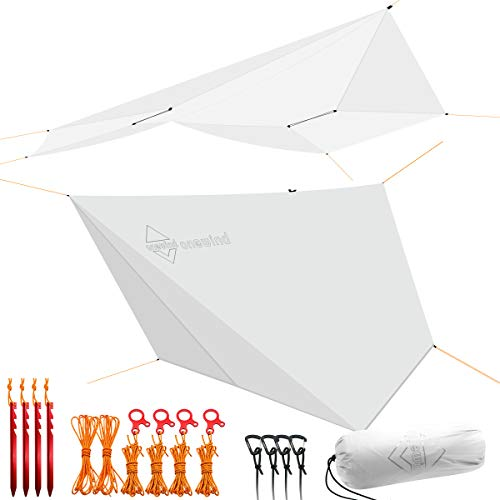 onewind Tarp Hammock Rain Fly Tarp Shelter Silnylon 5000mm Guyline Stakes Tensioners Included Tent Tarp Light Grey 10.7FT9.7ft