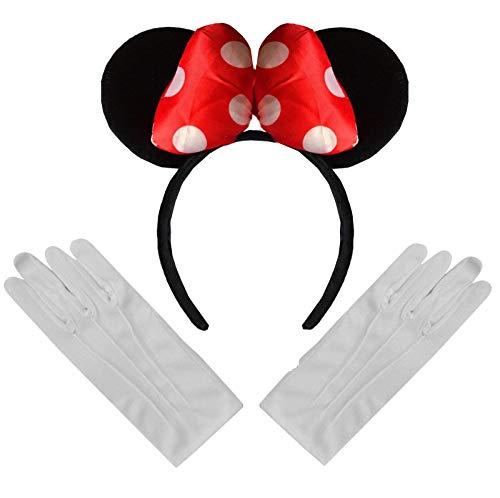 Grote gewatteerde Minnie Mouse Oren Boog Fancy Jurk Hoofd Band Rood Wit Polka stip Zwart + Witte goochelaar Katoen Handschoenen