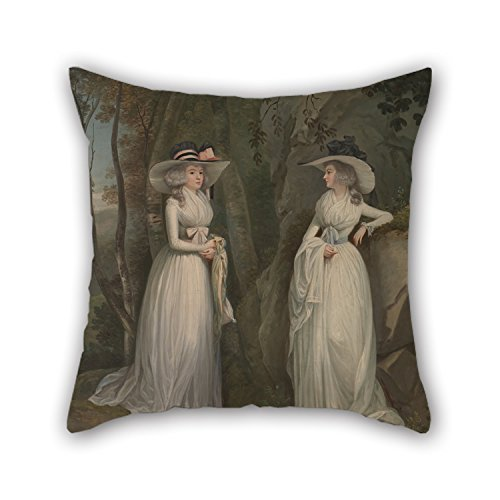 beautifulseason Pillowcover of Oil Painting Alexander Nasmyth - Eleanor and Margaret Ross,for Divan,Sofa,Home,Kids Room,Coffee House,Bedding 16 X 16 Inches/40 by 40 Cm(Double Sides)