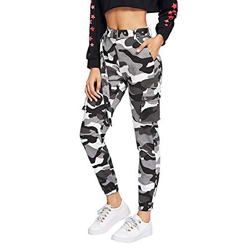 SOLY HUX Damen Sport Sweatshose Camouflage Gürtel Hosen Seiten Taschen Reißverschluss Laufhose Bunt Hosen Sporthose Capris Jogger Pants Farbe #3 L