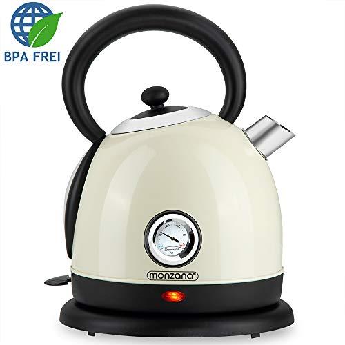 Deuba Hervidor de agua Crema de acero inoxidable diseño retro vintage 2200 W 1,8 L libre de BPA luz de control cocina