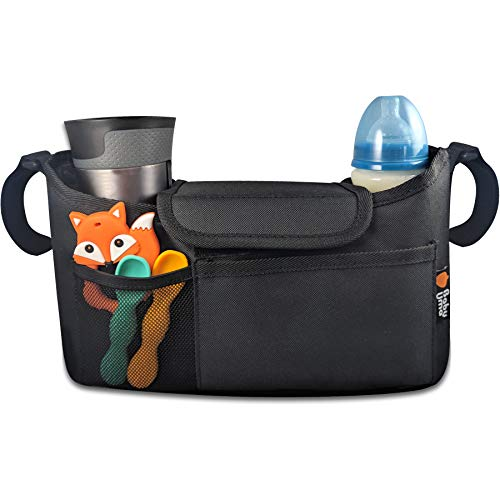 Buggy Organiser for Stroller, Pram & Pushchair - Keep All Your Essentials at Your Fingertips, Pram Handlebar Bag with Cup Holders. Universal Fit - Black