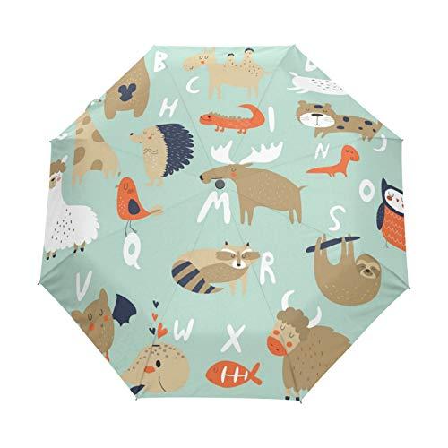 Paraguas plegable automático JinDoDo con muchas letras de animales encantadores paraguas de lluvia resistente al viento, protector solar para viajes, para mujeres, hombres y niñas